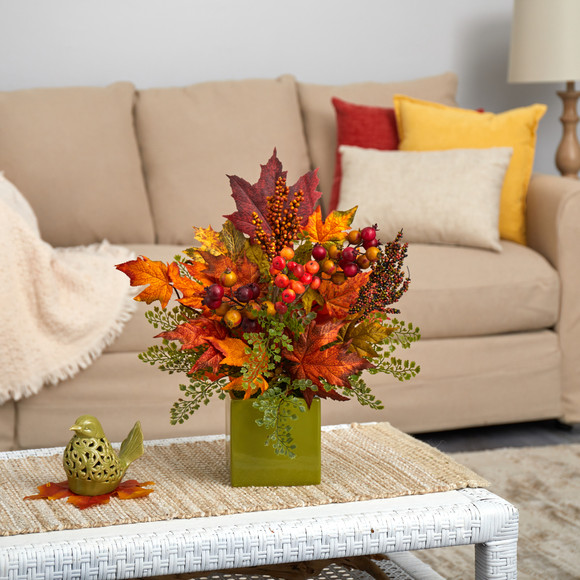 17 Maple Leaf Berries and Maiden Hair Artificial Arrangement in Green Vase - SKU #A1466
