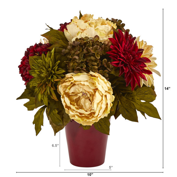 14 Peony Hydrangea and Dahlia Artificial Arrangement in Burgundy Vase - SKU #A1467 - 1