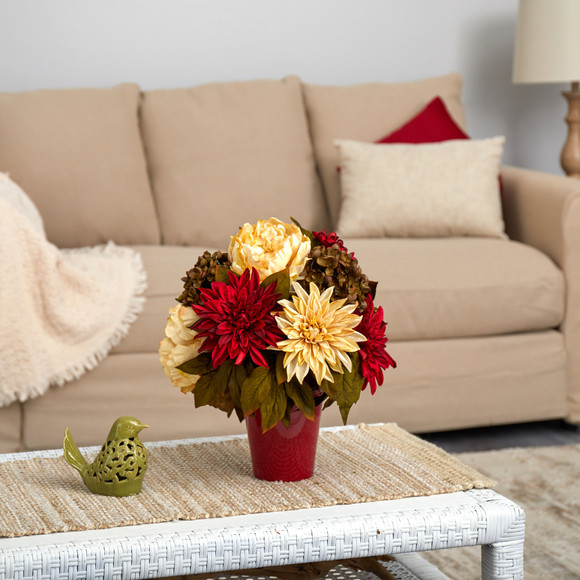 14 Peony Hydrangea and Dahlia Artificial Arrangement in Burgundy Vase - SKU #A1467
