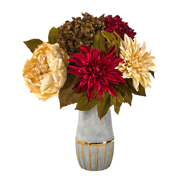 17 Peony Hydrangea and Dahlia Artificial Arrangement in Stoneware Vase with Gold Trimming - SKU #A1468