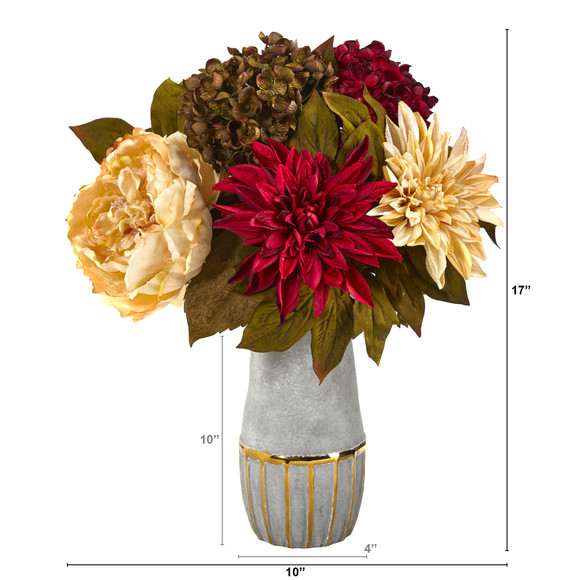 17 Peony Hydrangea and Dahlia Artificial Arrangement in Stoneware Vase with Gold Trimming - SKU #A1468 - 1