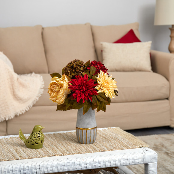 17 Peony Hydrangea and Dahlia Artificial Arrangement in Stoneware Vase with Gold Trimming - SKU #A1468 - 2