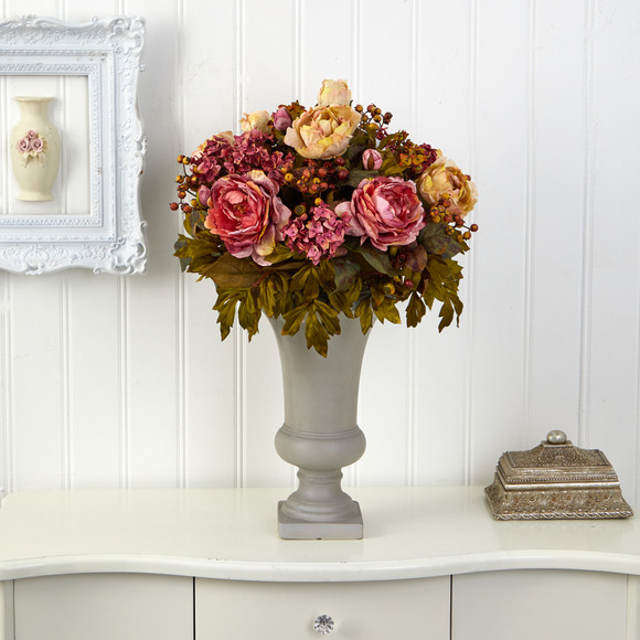 28 Peony Artificial Arrangement in Sand Colored Urn - SKU #A1469