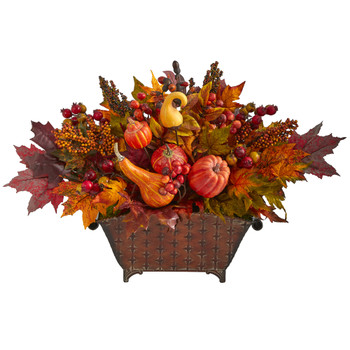 27 Pumpkin Maple Leaf and Berries Artificial Arrangement in Metal Vase - SKU #A1470