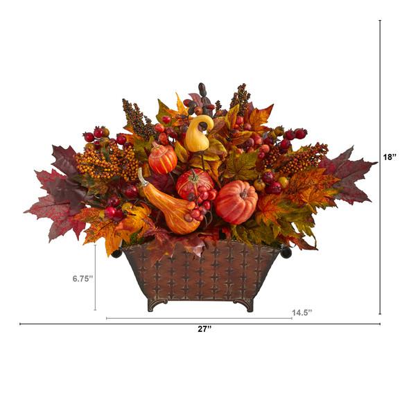 27 Pumpkin Maple Leaf and Berries Artificial Arrangement in Metal Vase - SKU #A1470 - 1