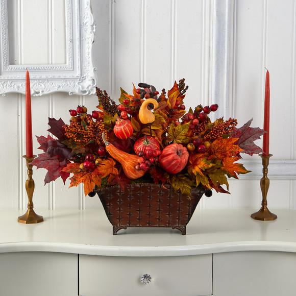 27 Pumpkin Maple Leaf and Berries Artificial Arrangement in Metal Vase - SKU #A1470