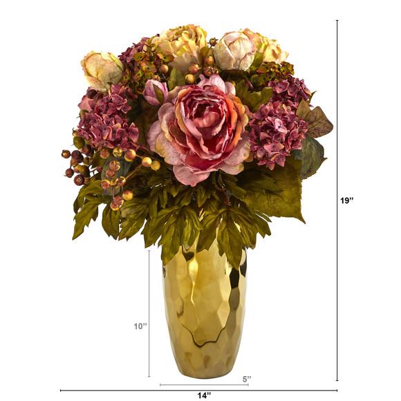 19 Peony Artificial Arrangement in Gold Vase - SKU #A1471 - 1