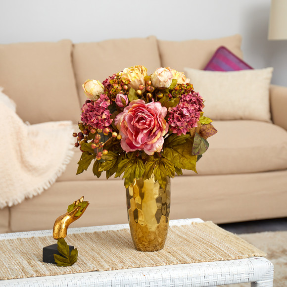 19 Peony Artificial Arrangement in Gold Vase - SKU #A1471