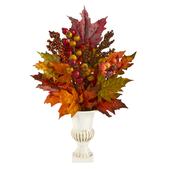 20 Maple Leaf and Berries Artificial Arrangement in White Urn - SKU #A1472