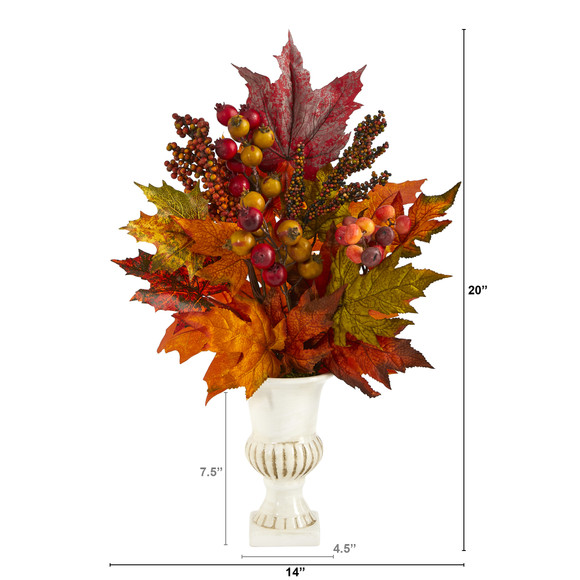 20 Maple Leaf and Berries Artificial Arrangement in White Urn - SKU #A1472 - 1