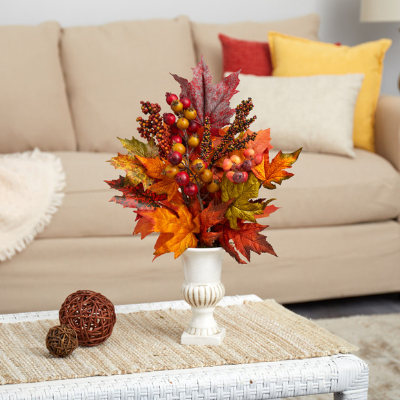 20 Maple Leaf and Berries Artificial Arrangement in White Urn - SKU #A1472 - 2