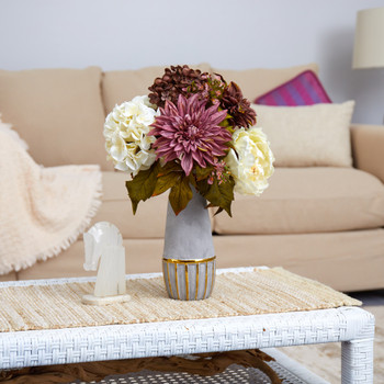 17 Peony Hydrangea and Dahlia Artificial Arrangement in Stoneware Vase with Gold Trimming - SKU #A1473