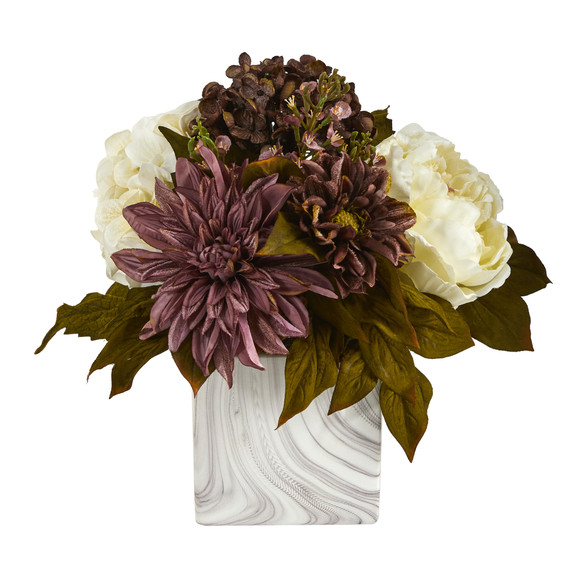 13 Peony Hydrangea and Dahlia Artificial Arrangement in Marble Finished Vase - SKU #A1474