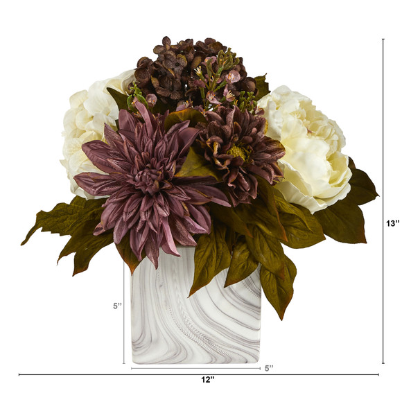 13 Peony Hydrangea and Dahlia Artificial Arrangement in Marble Finished Vase - SKU #A1474 - 1