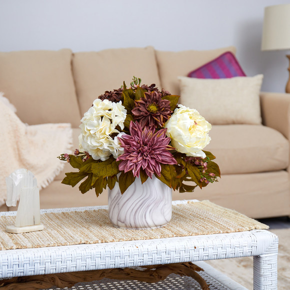 15 Peony Hydrangea and Dahlia Artificial Arrangement in Marble Finished Vase - SKU #A1475