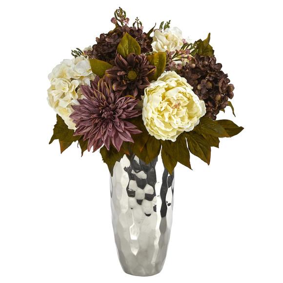 22 Peony Hydrangea and Dahlia Artificial Arrangement in Silver Vase - SKU #A1476
