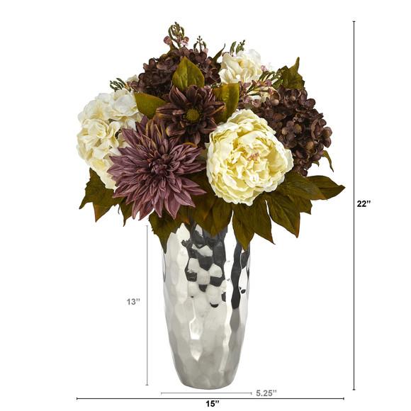 22 Peony Hydrangea and Dahlia Artificial Arrangement in Silver Vase - SKU #A1476 - 1