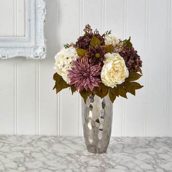 22 Peony Hydrangea and Dahlia Artificial Arrangement in Silver Vase - SKU #A1476