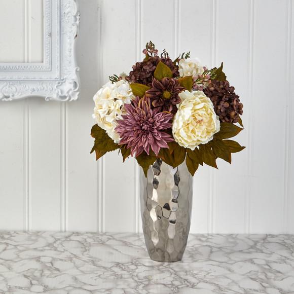 22 Peony Hydrangea and Dahlia Artificial Arrangement in Silver Vase - SKU #A1476 - 2