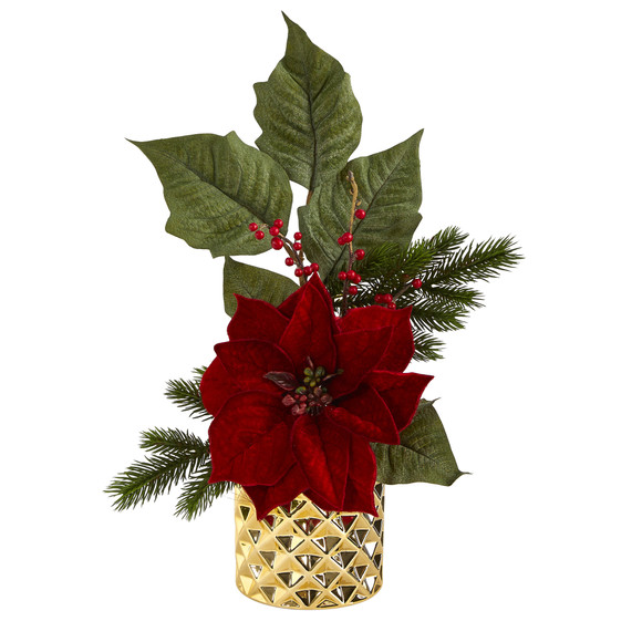 21 Poinsettia Berries and Pine Artificial Arrangement in Gold Vase - SKU #A1477