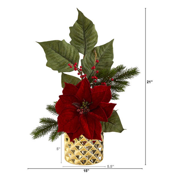 21 Poinsettia Berries and Pine Artificial Arrangement in Gold Vase - SKU #A1477 - 1