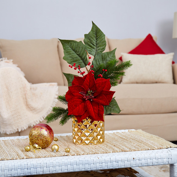 21 Poinsettia Berries and Pine Artificial Arrangement in Gold Vase - SKU #A1477 - 2