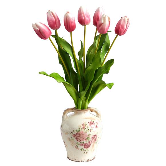 22 Dutch Tulip Artificial Arrangement in Flower Print Jar - SKU #A1478-MA