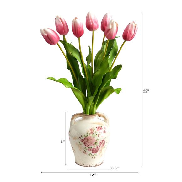 22 Dutch Tulip Artificial Arrangement in Flower Print Jar - SKU #A1478-MA - 1
