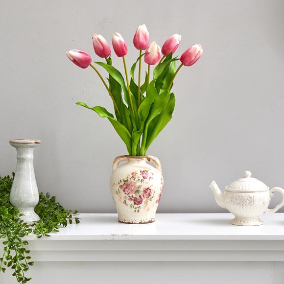 22 Dutch Tulip Artificial Arrangement in Flower Print Jar - SKU #A1478-MA - 2