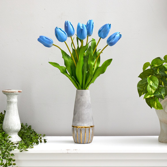 22 Dutch Tulip Artificial Arrangement in Stoneware Vase with Gold Trimming - SKU #A1479 - 6