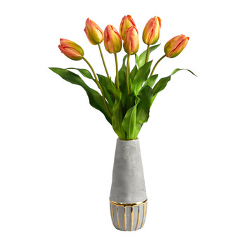 22 Dutch Tulip Artificial Arrangement in Stoneware Vase with Gold Trimming - SKU #A1479
