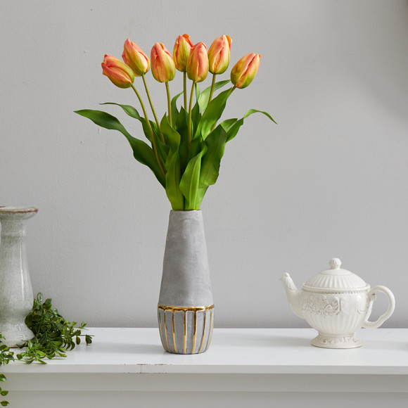 22 Dutch Tulip Artificial Arrangement in Stoneware Vase with Gold Trimming - SKU #A1479 - 2