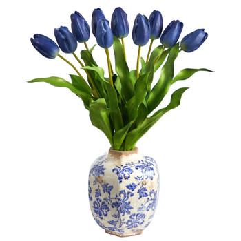 22 Dutch Tulip Artificial Arrangement in Blue and White Print Planter - SKU #A1480-BL