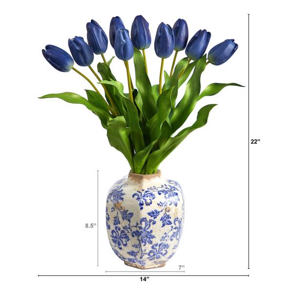 22 Dutch Tulip Artificial Arrangement in Blue and White Print Planter - SKU #A1480-BL - 1