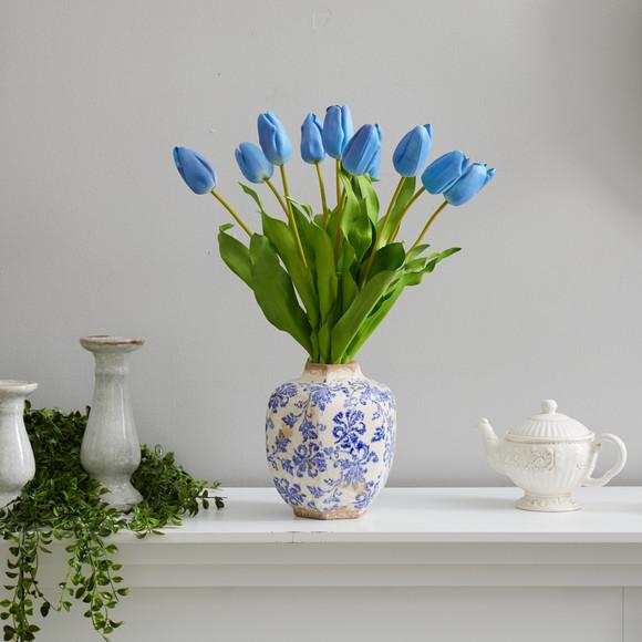 22 Dutch Tulip Artificial Arrangement in Blue and White Print Planter - SKU #A1480-BL - 6