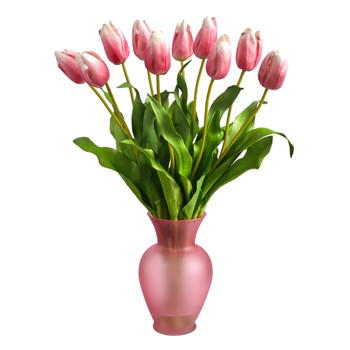 22 Dutch Tulip Artificial Arrangement in Rose Colored Vase - SKU #A1481-MA