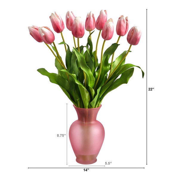 22 Dutch Tulip Artificial Arrangement in Rose Colored Vase - SKU #A1481-MA - 1