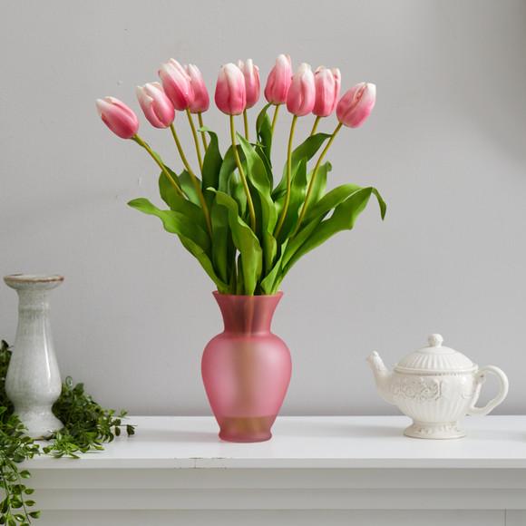 22 Dutch Tulip Artificial Arrangement in Rose Colored Vase - SKU #A1481-MA - 2