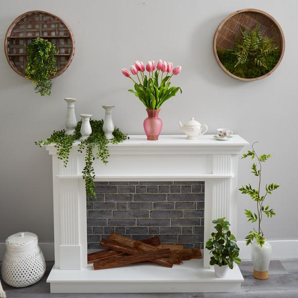 22 Dutch Tulip Artificial Arrangement in Rose Colored Vase - SKU #A1481-MA - 3