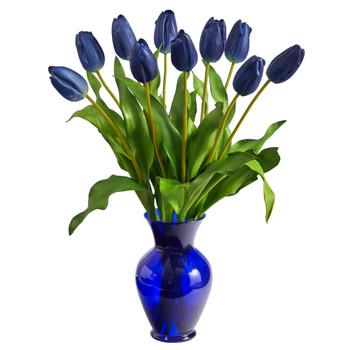 22 Dutch Tulip Artificial Arrangement in Blue Colored Vase - SKU #A1482