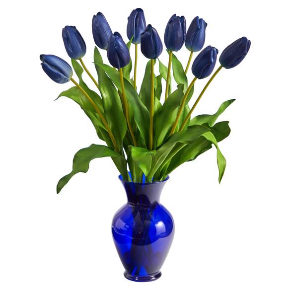 22 Dutch Tulip Artificial Arrangement in Blue Colored Vase - SKU #A1482 - 4