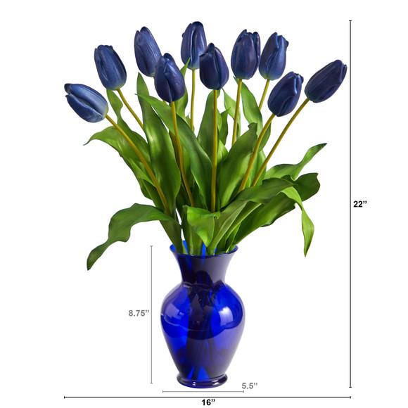 22 Dutch Tulip Artificial Arrangement in Blue Colored Vase - SKU #A1482 - 5