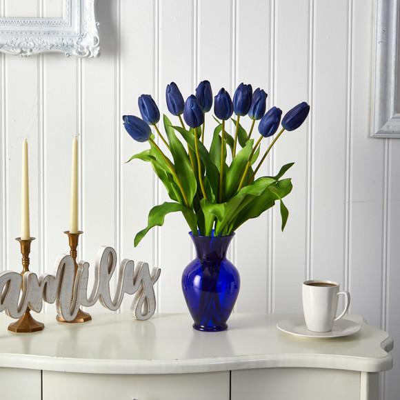 22 Dutch Tulip Artificial Arrangement in Blue Colored Vase - SKU #A1482 - 6