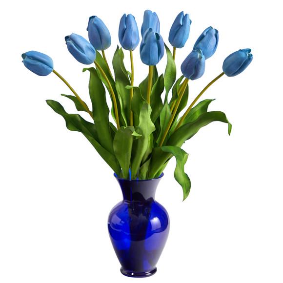 22 Dutch Tulip Artificial Arrangement in Blue Colored Vase - SKU #A1482 - 8