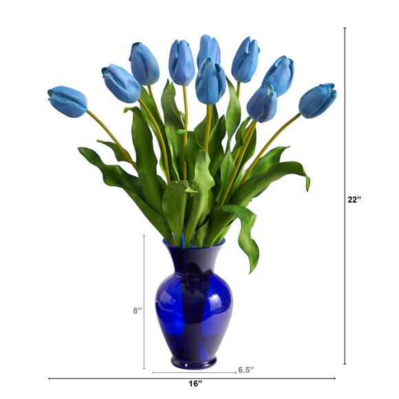 22 Dutch Tulip Artificial Arrangement in Blue Colored Vase - SKU #A1482 - 9