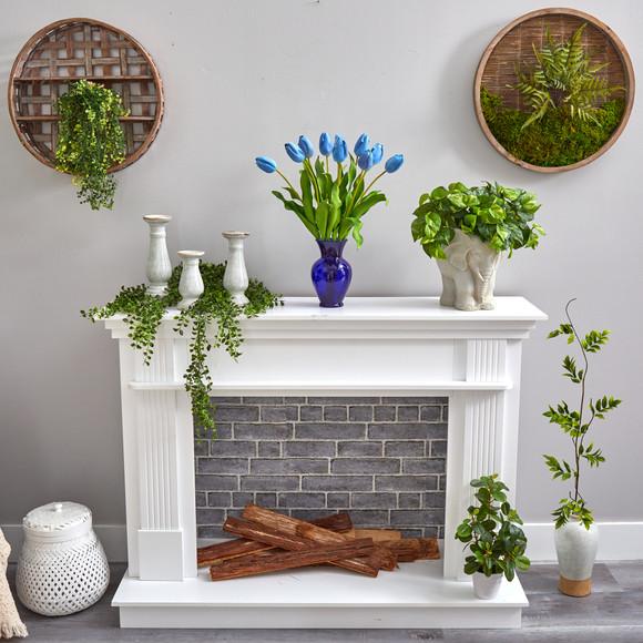 22 Dutch Tulip Artificial Arrangement in Blue Colored Vase - SKU #A1482 - 11