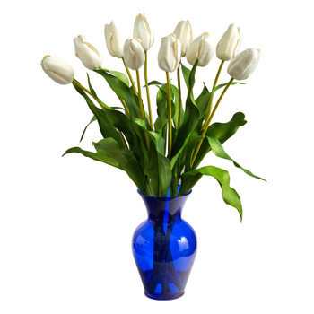 22 Dutch Tulip Artificial Arrangement in Blue Colored Vase - SKU #A1482