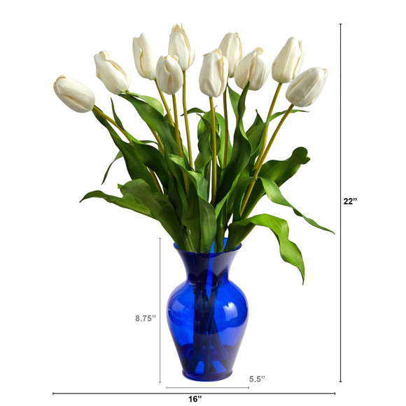 22 Dutch Tulip Artificial Arrangement in Blue Colored Vase - SKU #A1482 - 1