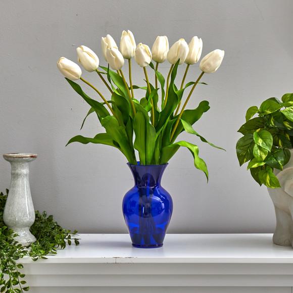 22 Dutch Tulip Artificial Arrangement in Blue Colored Vase - SKU #A1482 - 2