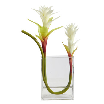 16 Star Bromeliad Artificial Arrangement in Glass Vase - SKU #A1483